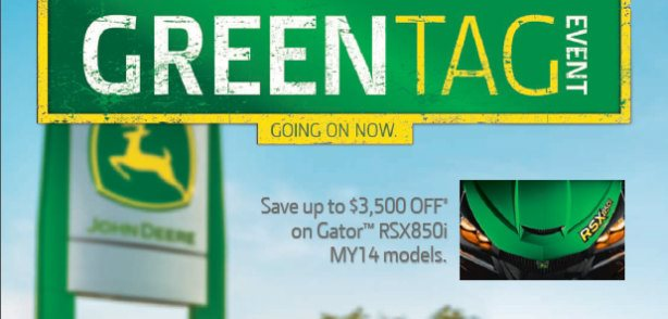 "May is ""Green Tag"" Month at Sunshine Equipment!  click HERE"